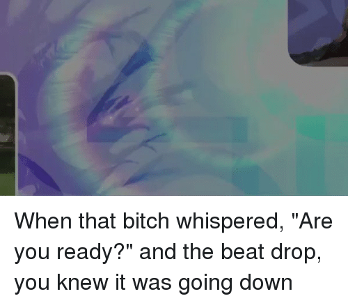 "Bitch, Funny, and Beats: When that bitch whispered, ""Are you ready?"" and the beat drop, you knew it was going down"