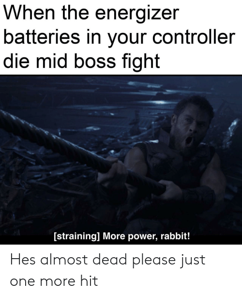Power, Rabbit, and Fight: When the energizer  batteries in your controller  die mid boss fight  [straining] More power, rabbit! Hes almost dead please just one more hit