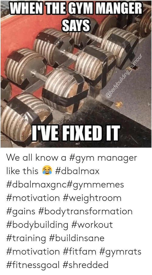 Bodybuilding: WHEN THE GYM MANGER  SAYS  IVE FIXED IT  @bodybuilding humour We all know a #gym manager like this 😂 #dbalmax #dbalmaxgnc#gymmemes #motivation #weightroom #gains #bodytransformation #bodybuilding #workout #training #buildinsane #motivation #fitfam #gymrats #fitnessgoal #shredded