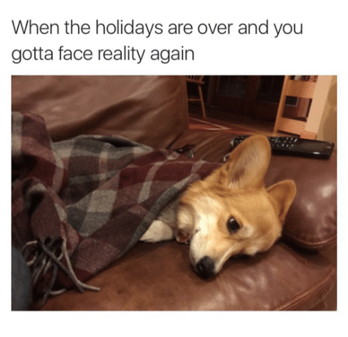 Reality, Face, and You: When the holidays are over and you  gotta face reality again