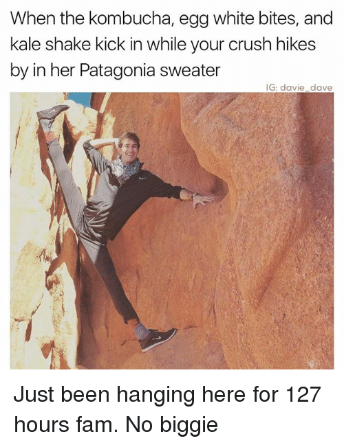patagonia: When the kombucha, egg white bites, and  kale shake kick in while your crush hikes  by in her Patagonia sweater  IG: davie dave Just been hanging here for 127 hours fam. No biggie