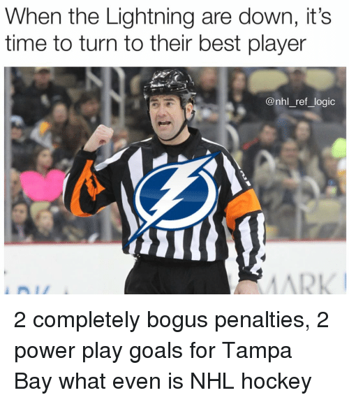 Goals, Hockey, and Logic: When the Lightning are down, it's  time to turn to their best player  @nhl_ref_logic 2 completely bogus penalties, 2 power play goals for Tampa Bay what even is NHL hockey