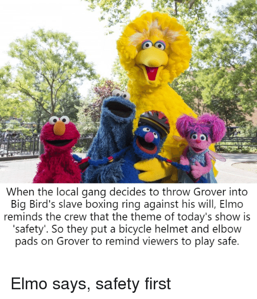 Boxing, Elmo, and Gang: When the local gang decides to throw Grover into  Big Bird's slave boxing ring against his will, Elmo  reminds the crew that the theme of today's show is  'safety'. So they put a bicycle helmet and elbow  pads on Grover to remind viewers to play safe.