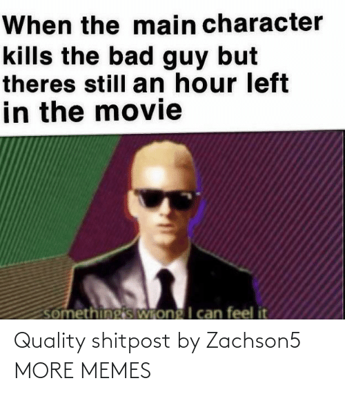 bad guy: When the main character  kills the bad guy but  theres still an hour left  in the movie  somethingis Wrong I can feel it Quality shitpost by Zachson5 MORE MEMES
