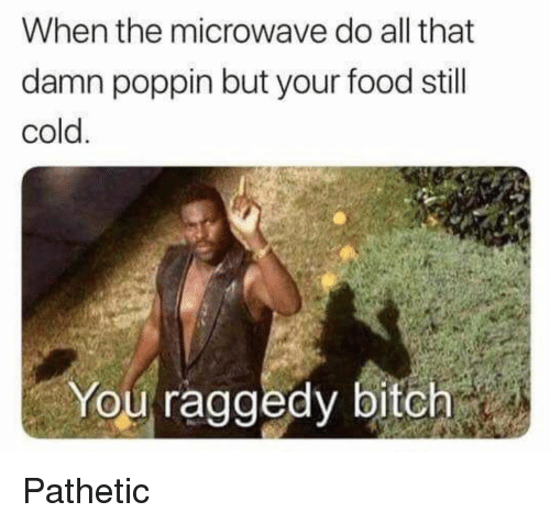 Bitch, Food, and Funny: When the microwave do all that  damn poppin but your food stil  cold  You raggedy bitch Pathetic