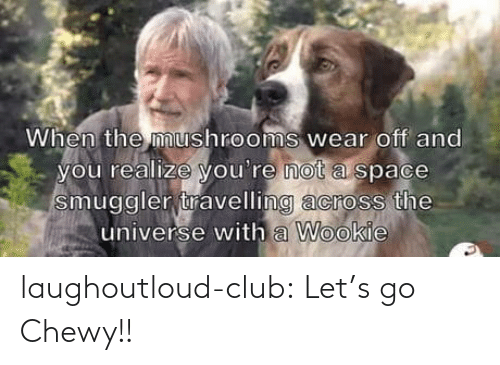 Travelling: When the mushrooms wear off and  you realize you're not a space  smuggler travelling across the  universe with a Wookie laughoutloud-club:  Let's go Chewy!!