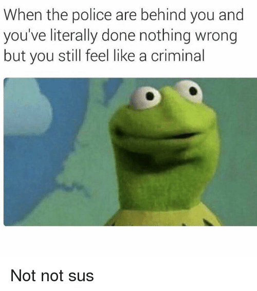 Police, Girl Memes, and The Police: When the police are behind you and  you've literally done nothing wrong  but you still feel like a criminal Not not sus