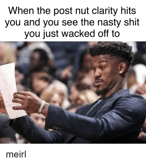 Post Nut Clarity: When the post nut clarity hits  you and you see the nasty shit  you just wacked off to meirl