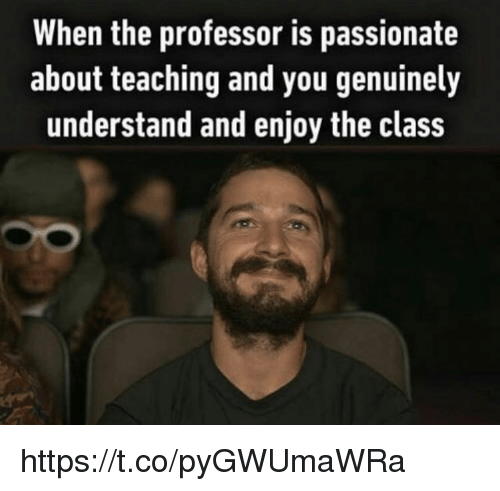 Memes, Passionate, and Teaching: When the professor is passionate  about teaching and you genuinely  understand and enjoy the class https://t.co/pyGWUmaWRa