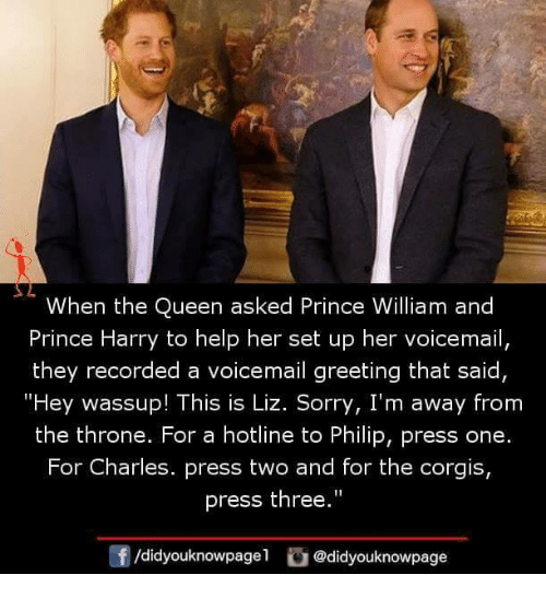 """Prince Harry: When the Queen asked Prince William and  Prince Harry to help her set up her voicemail,  they recorded a voicemail greeting that said  """"Hey wassup! This is Liz. Sorry, I'm away from  the throne. For a hotline to Philip, press one.  For Charles. press two and for the corgis,  press the""""  0  /didyouknowpagel @didyouknowpage"""