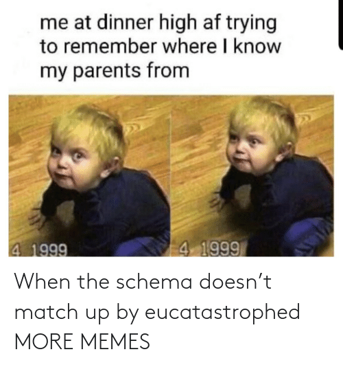 Match: When the schema doesn't match up by eucatastrophed MORE MEMES