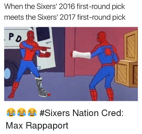Nba, Sixers, and Nationals: When the Sixers' 2016 first-round pick  meets the Sixers' 2017 first-round pick  PD 😂😂😂 #Sixers Nation Cred: Max Rappaport