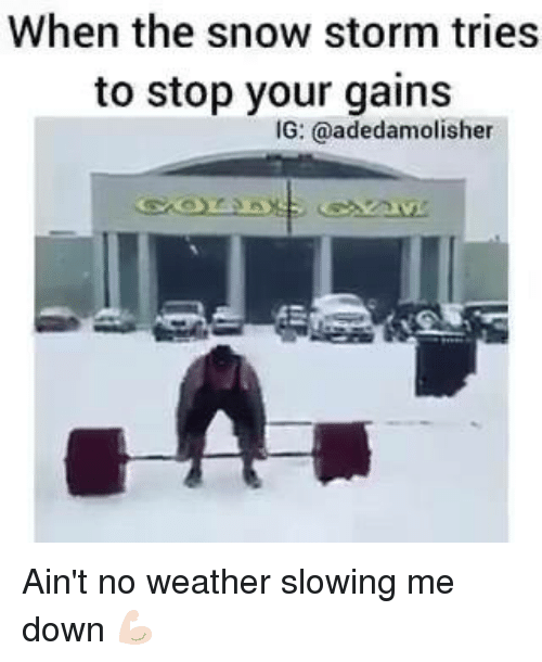 snow storm: When the snow storm tries  to stop your gains  IG: @adedamolisher Ain't no weather slowing me down 💪🏻