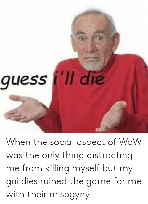 Distracting: When the social aspect of WoW was the only thing distracting me from killing myself but my guildies ruined the game for me with their misogyny