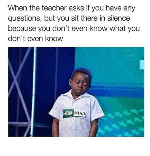Teacher, Silence, and Asks: When the teacher asks if you have any  questions, but you sit there in silence  because you don't even know what you  don't even know