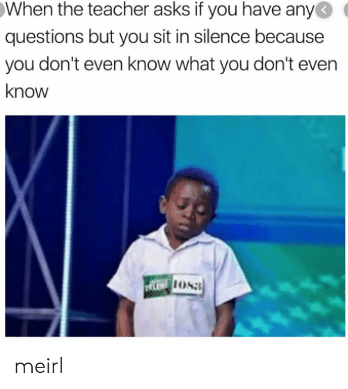 Teacher, Silence, and MeIRL: When the teacher asks if you have any  questions but you sit in silence because  you don't even know what you don't even  know  LENT OS meirl
