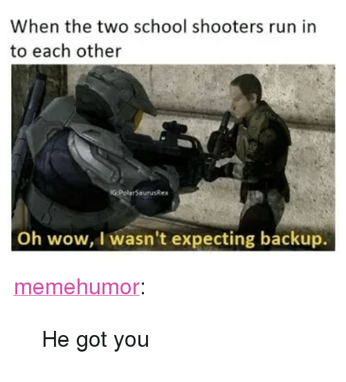 "School Shooters: When the two school shooters run in  to each other  G:PolarSaurusRex  Oh wow, I wasn't expecting backup. <p><a href=""http://memehumor.net/post/165997181978/he-got-you"" class=""tumblr_blog"">memehumor</a>:</p>  <blockquote><p>He got you</p></blockquote>"