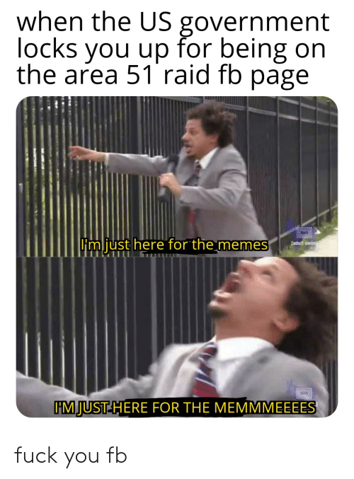 Im Just Here For The: when the US government  locks you up for being on  the area 51 raid fb page  Fm just here for the memes  [adult swim  IM JUST HERE FOR THE MEMMMEEEES fuck you fb