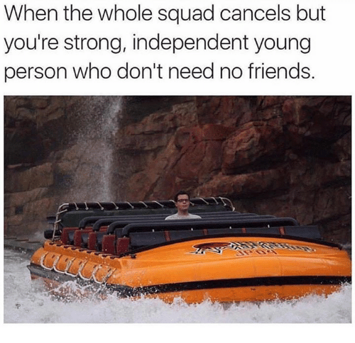When The Whole Squad: When the whole squad cancels but  you're strong, independent young  person who don't need no friends.