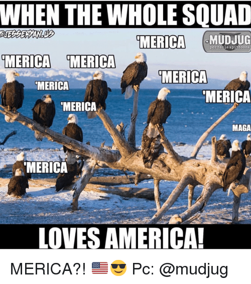 When The Whole Squad: WHEN THE WHOLE SQUAD  MERICA  portable spittoons  MERICA MERICA  MERICA  MERICA  MERICA  MERICA  MAGA  MERICA  LOVES AMERICA MERICA?! 🇺🇸😎 Pc: @mudjug