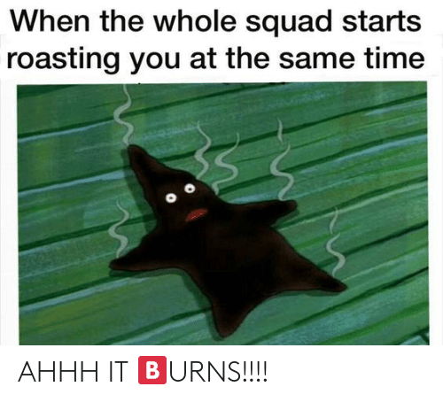 Squad, Time, and Ahhh: When the whole squad starts  roasting you at the same time AHHH IT 🅱URNS!!!!