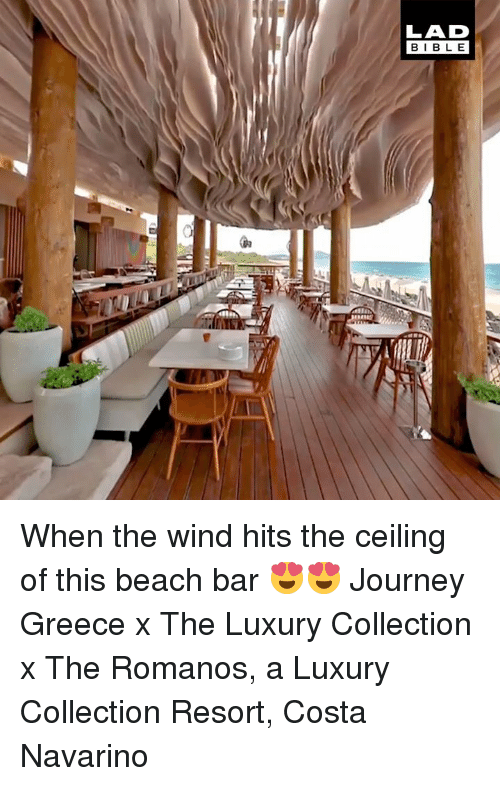 Dank, Journey, and Beach: When the wind hits the ceiling of this beach bar 😍😍  Journey Greece x The Luxury Collection x The Romanos, a Luxury Collection Resort, Costa Navarino