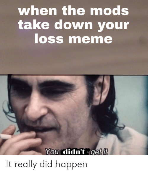 Loss Meme: when themods  take down your  loss meme  ке  SS  You didn't get it It really did happen