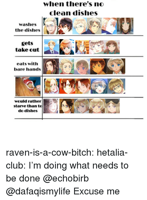 hetalia: when there's no  clean dishes  washes  the dishes  gets  take out  eats with  bare hands  would rather  starve than to  do dishes raven-is-a-cow-bitch:  hetalia-club: I'm doing what needs to be done @echobirb @dafaqismylife  Excuse me