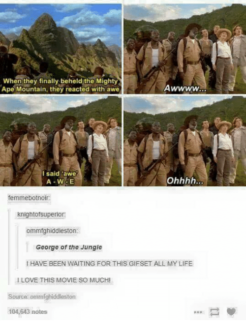 Apees: When they finally beheld the Mighty  Ape Mountain, they reacted with awe  I said awe  A-W-E  femmebotnoir:  knightofsuperior:  ommfghiddleston  George of the Jungle  I HAVE BEEN WAITING FOR THIS GIFSET ALL MY LIFE  I LOVE THIS MOVIE SO MUCH!  Source ommfghiddleston  104,643 notes