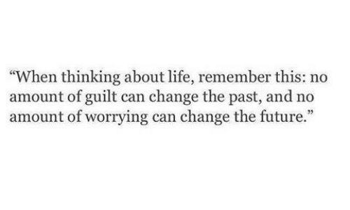 """Future, Life, and Change: """"When thinking about life, remember this: no  amount of guilt can change the past, and no  amount of worrying can change the future.  35"""