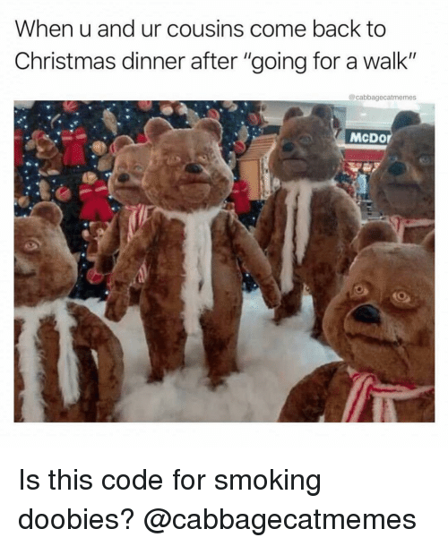 "christmas dinner: When u and ur cousins come back to  Christmas dinner after ""going for a walk""  @cabbagecatmemes  McDor Is this code for smoking doobies? @cabbagecatmemes"