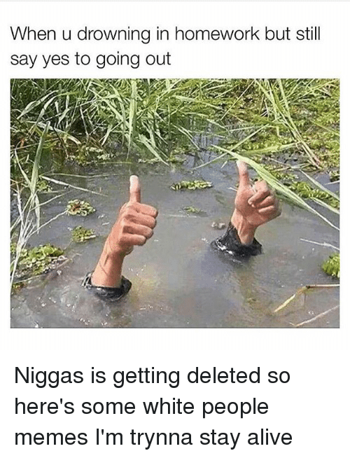 People Memes: When u drowning in homework but still  say yes to going out Niggas is getting deleted so here's some white people memes I'm trynna stay alive