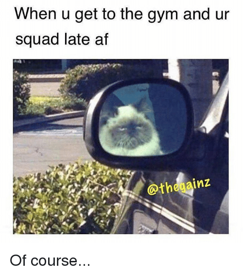 Afs, When U, and Gyms: When u get to the gym and ur  squad late af  gainz  the Of course...