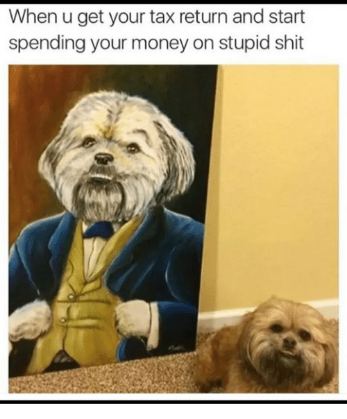 Money, Shit, and Tax Return: When u get your tax return and start  spending your money on stupid shit