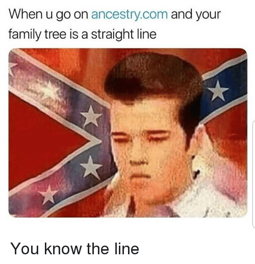 ancestry.com: When u go on ancestry.com and your  family tree is a straight line You know the line