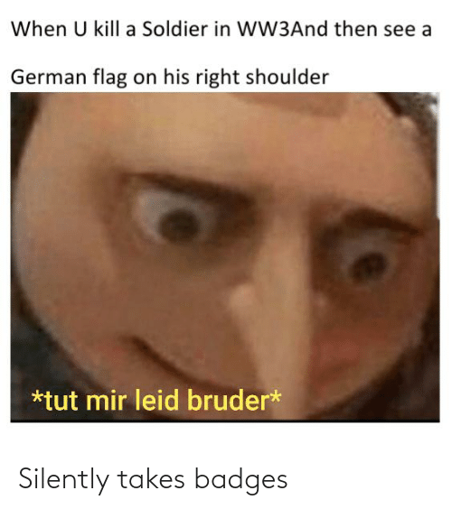 tut: When U kill a Soldier in WW3And then see a  German flag on his right shoulder  *tut mir leid bruder* Silently takes badges