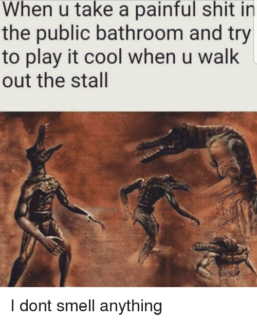Shit, Smell, and Cool: When u take a painful shit in  the public bathroom and try  to play it cool when u walk  out the stall I dont smell anything