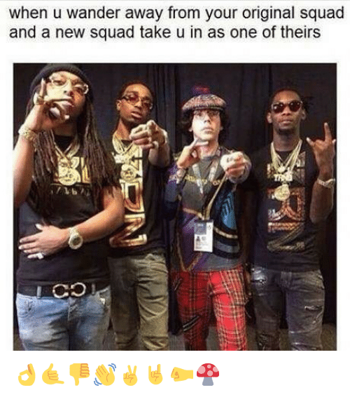Squad, Dank Memes, and One: when u wander away from your original squad  and a new squad take u in as one of theirs 👌🤙👎👋✌️🤘🤛🍄
