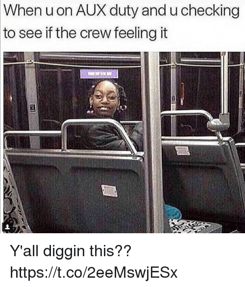Funny, The Crew, and Crew: When uon AUX duty and u checking  to  see if the crew feeling it Y'all diggin this?? https://t.co/2eeMswjESx
