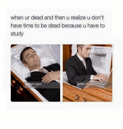 Memes, Time, and 🤖: when ur dead and then u realize u don't  have time to be dead because u have to  study  gettyimages  gettyimages  do