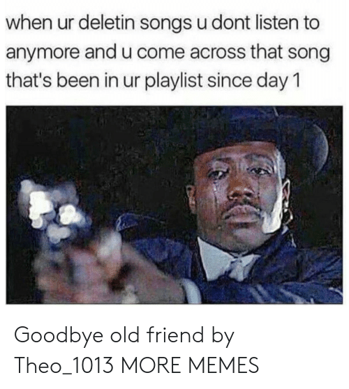 Dank, Memes, and Target: when ur deletin songs u dont listen to  anymore and u come across that song  that's been in ur playlist since day 1 Goodbye old friend by Theo_1013 MORE MEMES