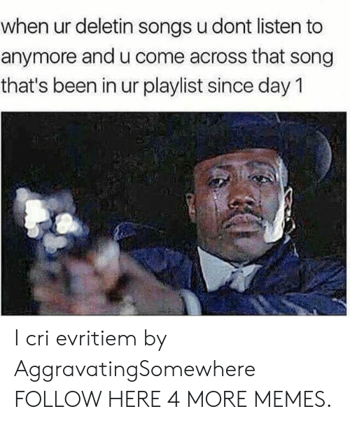 Dank, Memes, and Target: when ur deletin songs u dont listen to  anymore and u come across that song  that's been in ur playlist since day 1 I cri evritiem by AggravatingSomewhere FOLLOW HERE 4 MORE MEMES.