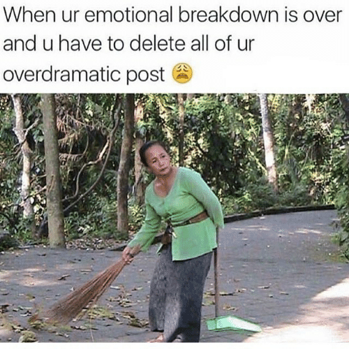 Emotional Breakdown: When ur emotional breakdown is over  and u have to delete all of ur