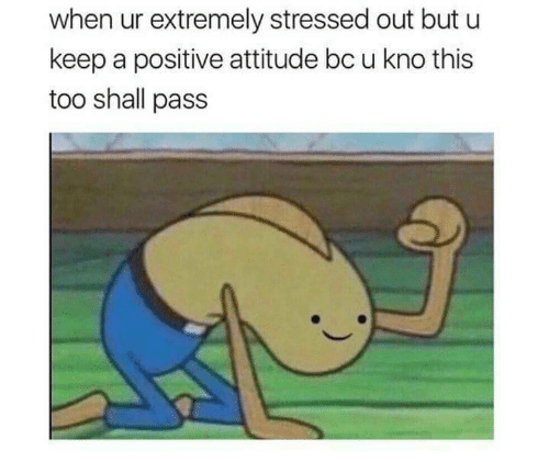 Attitude, Positive Attitude, and This: when ur extremely stressed out but u  keep a positive attitude bc u kno this  too shall pass