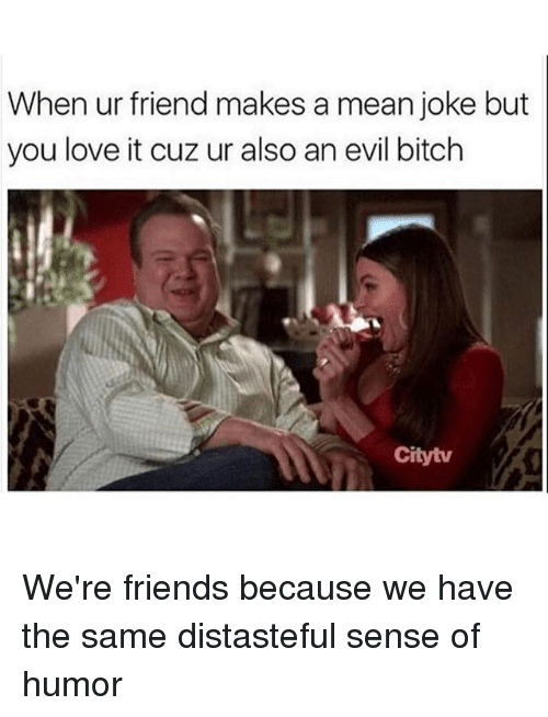 Bitch, Friends, and Love: When ur friend makes a mean joke but  you love it cuz ur also an evil bitch  Citytv We're friends because we have the same distasteful sense of humor