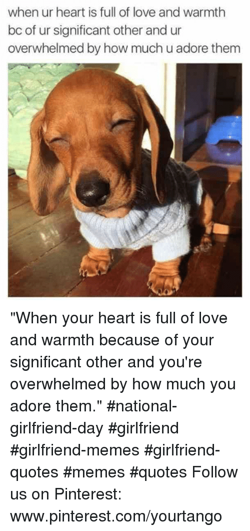 """Love, Memes, and Pinterest: when ur heart is full of love and warmth  bc of ur significant other and ur  overwhelmed by how much u adore thenm """"When your heart is full of love and warmth because of your significant other and you're overwhelmed by how much you adore them."""" #national-girlfriend-day #girlfriend #girlfriend-memes #girlfriend-quotes #memes #quotes Follow us on Pinterest: www.pinterest.com/yourtango"""