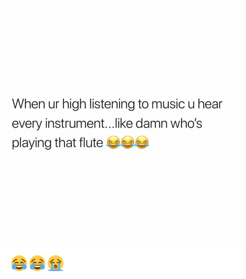 Music, Weed, and Marijuana: When ur high listening to music u hear  every instrument...like damn who's  playing that flute 😂😂😭