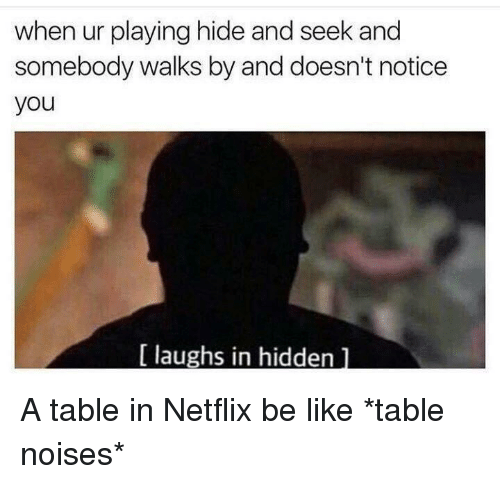 hide and seek: when ur playing hide and seek and  somebody walks by and doesn't notice  you  laughs in hidden A table in Netflix be like *table noises*