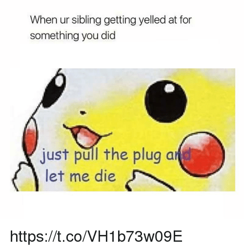 The Plug: When ur sibling getting yelled at for  something you did  just pull the plug a  let me die https://t.co/VH1b73w09E