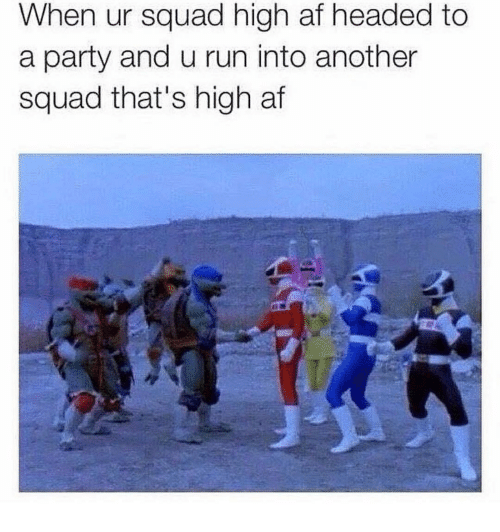 Af, Memes, and Party: When ur squad high af headed to  a party and u run into another  squad that's high af